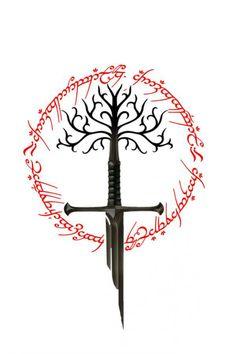 Lord of the rings sword of the king the white tree of gondor and ring of power Herr der Ringe Schwert des Königs der weiße Baum von Gondor und Ring der Macht Tolkien Tattoo, Tatouage Tolkien, Lotr Tattoo, Tattoo Diy, Jrr Tolkien, Tree Of Gondor Tattoo, Ring Tattoos, Body Art Tattoos, Cool Tattoos