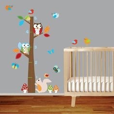 Childrens wall decal vinyl wall decal growth chart with owls and birds