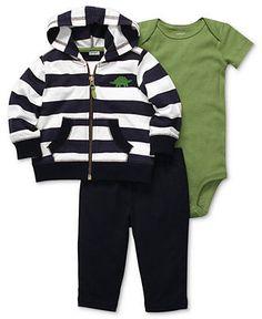 Carter's Baby Set, Baby Boy Striped Jacket, Bodysuit & Pants - Kids - Macy's $16