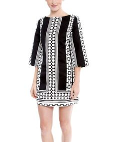 Take a look at the Black & White Moonstone Merrie Bell-Sleeve Dress on #zulily today!