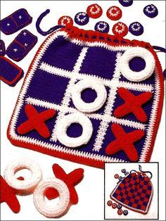 Fun and Games Bag - Use worsted-weight yarn to stitch a game set that includes checkers, tic-tac-toe and dominoes in a convenient carrying bag that doubles as the playing surface!    Skill Level: Easy  Designed by Sharon Volkman