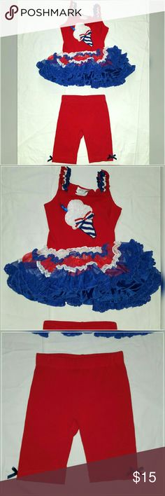 Patriotic Cutie ~ Ice Cream Tutu 2 pc Set 3T ~Adorable Two piece Set by Emily Rose. Size girl's  3T. Tank top with soft, full & fluffy tutu bottom and bike shorts. Ice cream cone applique on top, patriotic red white and blue theme.  Perfect for 4th of July, Memorial Day, or Any Summer day!  ~ Excellent condition, lightly worn with no visible wear or defects. Emily Rose  Matching Sets