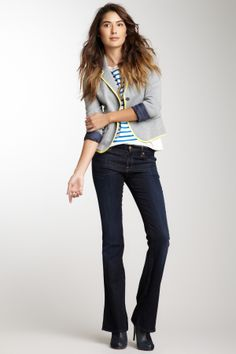 """Kimmie Contrast Stitch Bootcut Jean in dark rich blue by 7 For All Mankind  $198 - $75 @HauteLook. Sizing: 28=6, 29=8, 30=10, 31=10-12, 32=12. - Zip fly with button closure - 5 pocket construction - Bootcut leg - Contrast stitching  - Whiskering details - Approx. 9"""" rise, 34"""" inseam - Made in USA Model's stats: - Height: 5'11'' - Waist: 25'' - Hips: 35'' Model is wearing size 26. Care Info. 43% cotton, 28% lyocell, 27% rayon, 2% spandex."""
