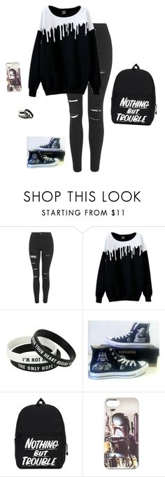 """I'M BORED HALP"" by hanakdudley ❤ liked on Polyvore featuring Topshop and Converse"