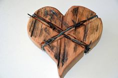 Hey, I found this really awesome Etsy listing at https://www.etsy.com/listing/539949112/wooden-heart-barb-wire-edition