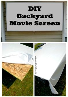Easy DIY Movie Screen for Outdoor Movie Nights! Two Simple products and you will have a backyard movie screen ready in no time! #moviescreen #diy #outdoormovies