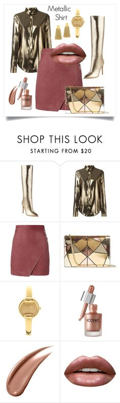 """Metallic Shirt"" by riitciii ❤ liked on Polyvore featuring GUESS, Yves Saint Laurent, Michelle Mason, Karen Millen, Gucci, Huda Beauty and Lizzie Fortunato"