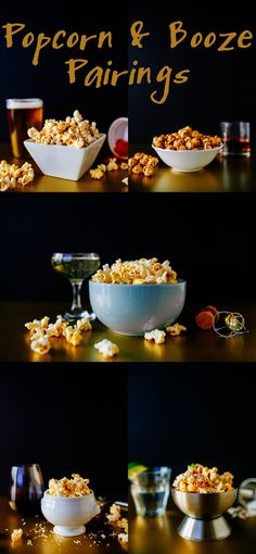Five Easy Popcorn and Booze Pairings - featuring beer, bourbon, Prosecco, red wine, and tequila!