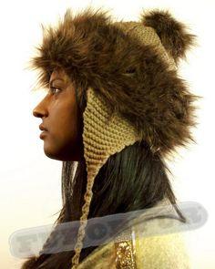 53ace18766d 13 Best Women s Faux Fur Trim Winter Knitted Hat with 3 Pom Poms ...