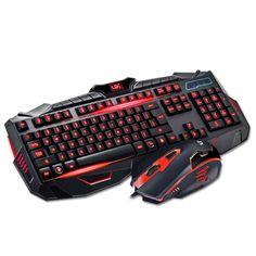 New Colorful LED Illuminated Backlit USB Wired Pro Gaming Keyboard Mouse Set | eBay