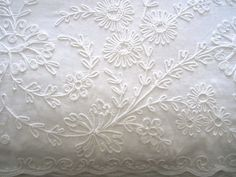 Vintage 63 x 132 White Tablecloth with 3D by JewelsOfHighElegance, $40.00