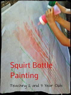 Teaching 2 and 3 Year Olds: Squirt Paint! Teaching 2 and 3 Year Olds: Squirt Paint! Teaching 2 and 3 Year Olds: Squirt Paint! Teaching 2 and 3 Year Olds: Squirt Paint! Preschool Garden, Kindergarten Activities, Infant Activities, Toddler Preschool, Toddler Crafts, Preschool Crafts, Activities For Kids, Activity Ideas, Outdoor Classroom