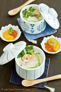 Japanese food Chawanmushi with Shrimp topped with Ikura and Uni.