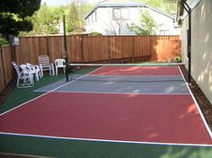 Diy patio staining stencil ideas dunkstar backyard for Residential basketball court cost