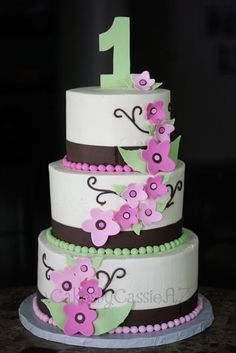Green & Brown Cake with Pink Blossoms