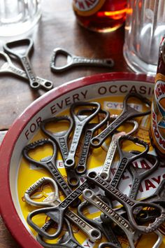 Love these vintage bottle openers to give with some unusual bottle beers