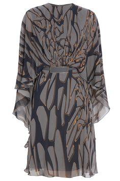 Elie Saab - 100% Silk Printed Kaftan Dress with contrasting optional wait cinching belt. Pewter Gray/Slate/Gold accents