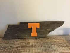 MEDIUM Reclaimed Barn Wood sign - state of Tennessee & orange power T University of Tennessee Volunteers Vols Knoxville