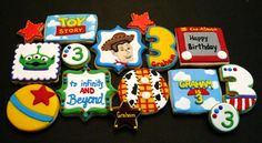 Toy Story decorated cookies for a birthday party… Toy Story Theme, Festa Toy Story, Toy Story Party, Toy Story Birthday, Cookies For Kids, Cute Cookies, Fancy Sugar Cookies, Toy Story Cookies, Disney Cookies