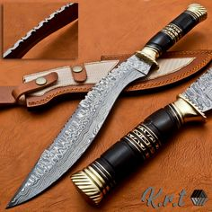 Handmade Damascus Steel Hunting Kukri Knife With Black Horn&Brass Spacer Handle Damascus Steel Sword, Damascus Knife, Knife Handles, Brass Handles, Knives And Tools, Knives And Swords, Martial Arts Styles, Bull Horns, Survival Knife