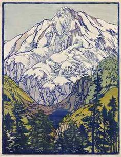 Frances Gearhart, Glacial Majesty (In Glacial Majesty), Color Block Print, 1935, 14 1/2 x 11 inches, Private Collection, Courtesy of JMW Gallery