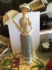 Home interior homco masterpiece porcelain sarah jane lady figurine w wood base avon figurine for Home interior masterpiece figurines