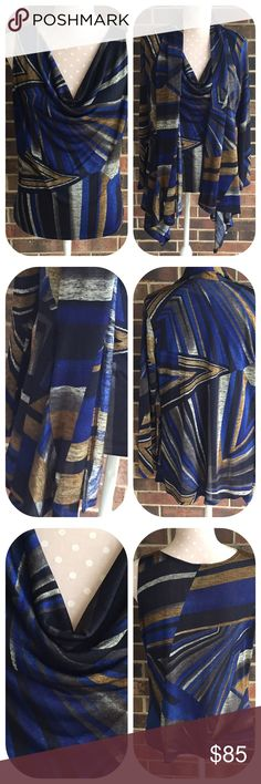 "Clara Sun Woo Drape Neck Top and Cardigan Shawl collar tunic Cardigan with extra drape at the sides and a matching draped neck Sleeveless top all in an abstract print in blue, black, green and gold. Nice slinky, wrinkle resistant material. 70% polyester 20% rayon 10% spandex. Hand wash cold and hang dry. All measurements are approximate laying flat. Shell bust 18 1/2"" length 22"". Cardigan bust 19"" length at longest point is 34"". Clara Sun Woo Tops"