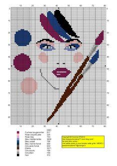 femme - woman - broderie - embroidery - Femme palette maquillage - Point de croix - Blog : http://broderiemimie44.canalblog.com/