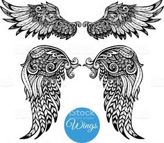 Decorative Wings Set royalty-free stock vector art