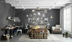 Loft cement wall bedroom reference