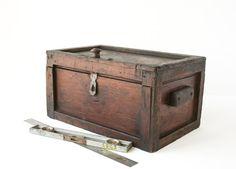 Large Rustic Wood Box / Primitive Tool Box / by tawneyvintage, $68.00