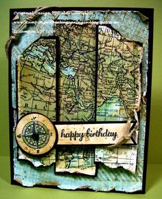 Stamping with Julie Gearinger: Stampin' Up! card- Vintage Old World Map- Handmade Map for Masculine Birthday- Created for the NAC75 Sketch Challenge and Seize the Birthday Anything Goes Challenge :-)