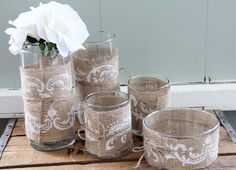 Burlap Wrapped Vases - may do this with leftover wedding burlap