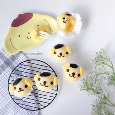 """""""Woke up one hour late!!  so quickly made some fun and simple #Pompompurin deco steam cakes!  Love Japanese mushipan (steam cakes), so easy to make and…"""""""