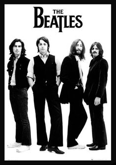 The Beatles & John Lennon posters: Beatles poster featuring a black and white shot of the band against a white background. This Beatles poster features all the band; John Lennon, Paul McCartney, George Harrison and Ringo Starr. Poster Dos Beatles, Die Beatles, Beatles Quotes, Beatles Guitar, Beatles Songs, Ringo Starr, John Lennon, Great Bands, Cool Bands
