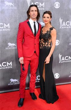 Jake Owen and Lacey Buchanan arrive at the 49th annual Academy of Country Music Awards at the MGM Grand Garden Arena in Las Vegas on April 6, 2014.