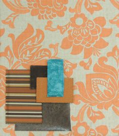 Bernais Tangerine with coordinating drapery, bedding and upholstery options.