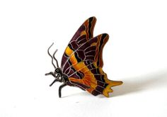 Sterling Cloisonne Butterfly Brooch with Enameled Cloisonne Wings