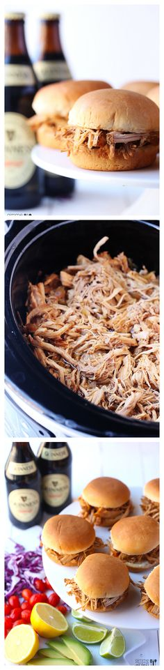 Guinness Pulled Pork -- grab a bottle o' stout, and let your slow cooker do the work! gimmesomeoven.com #crockpot