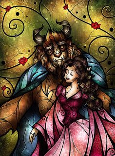 Stained glass art beauty & the beast