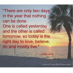 """""""There are only two days in the year that nothing can be done. One is called yesterday and the other is called tomorrow, so today...."""
