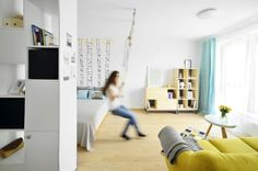 Studio in Bucharest Elle Decor, Pantone, Small Spaces, Kids Rugs, Interior Design, Studio, Bed, Furniture, Bucharest