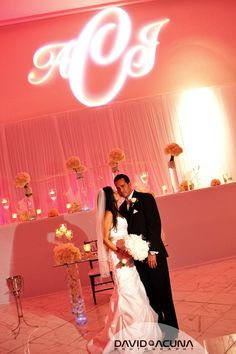 Pinkish coral #uplighting with a #gobo. Love! #rentmywedding