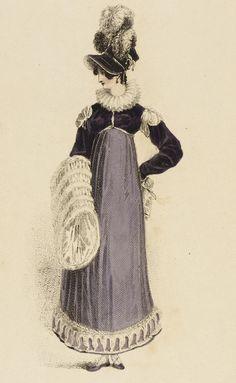 Fashion Plate, 'Walking Dress' for 'The Repository of Arts' 1800s Fashion, 19th Century Fashion, Victorian Fashion, Vintage Fashion, Jane Austen, Historical Costume, Historical Clothing, Regency Dress, Regency Era