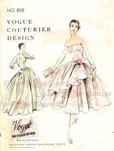 Vogue 858 Evening Dress Sewing Pattern Vintage Ball Gown by DRCRosePatterns on Etsy Vintage Ball Gowns, Vintage 1950s Dresses, Vintage Outfits, Vintage Hats, Vintage Clothing, Etsy Vintage, Fashion Sewing, Retro Fashion, Vintage Fashion