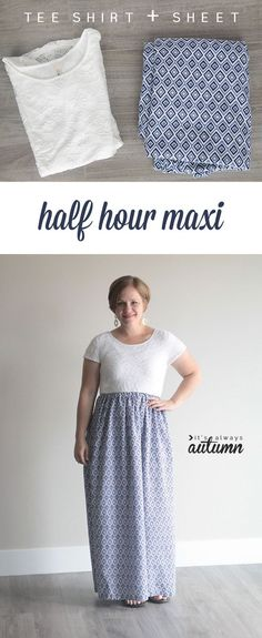 Learn how to make an easy cap sleeve maxi dress in 30 minutes. The half hour maxi. Simple, easy to sew dress from a tee shirt (t-shirt) and printed sheet.