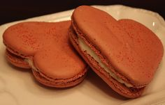 Red Velvet Valentine's French Macaron Hearts by TC Paris:  Macaron shells gently infused with 100% Cocoa, and filled with our real cream cheese and buttermilk cream filling.