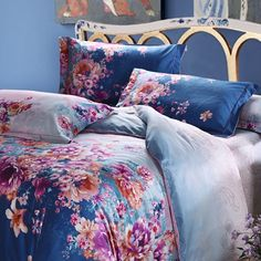 Navy Blue Purple and Pink English Waverly Garden Floral Plants 100% Egyptian Cotton Full, Queen Size Bedding Sets - EnjoyBedding.com