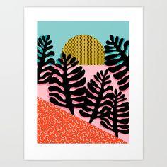 B.F.F. - throwback 80s style memphis design neon art print hipster brooklyn palm springs resort patt Art Print