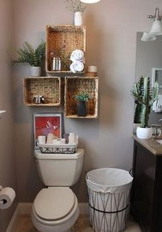 Smart And Easy Bathroom Storage Ideas Simple and rustic decor for the guest bathroom. - Smart And Easy Bathroom Storage Ideas Simple and rustic decor for the guest bathroom. Small Bathroom Storage, Simple Bathroom, Bathroom Shelves, Storage Spaces, Bathroom Cabinets, Linen Cabinets, White Bathroom, Bathroom Colors, Bathroom Vanities